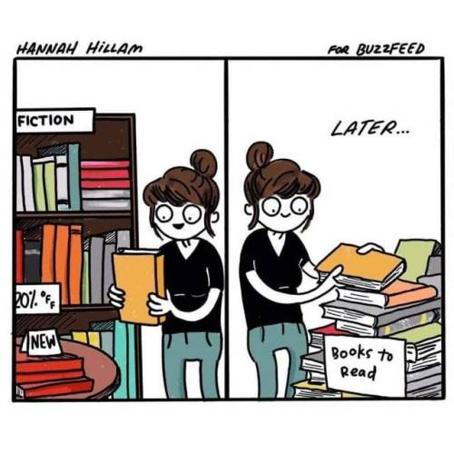 Comicstrip of girl adding books to her to-read list.