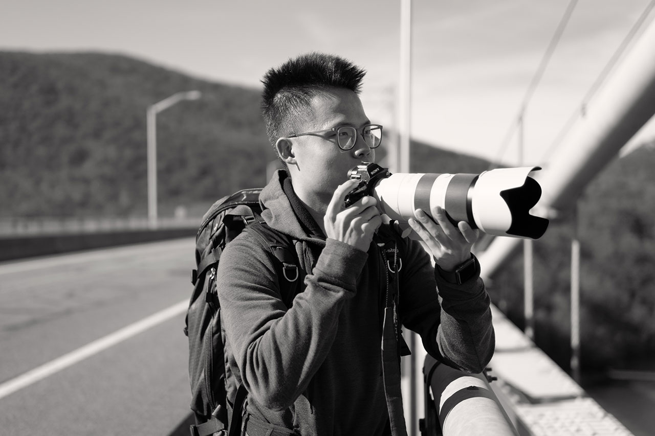 The photographer Leon Liu on location at Bear Mountain State Park.