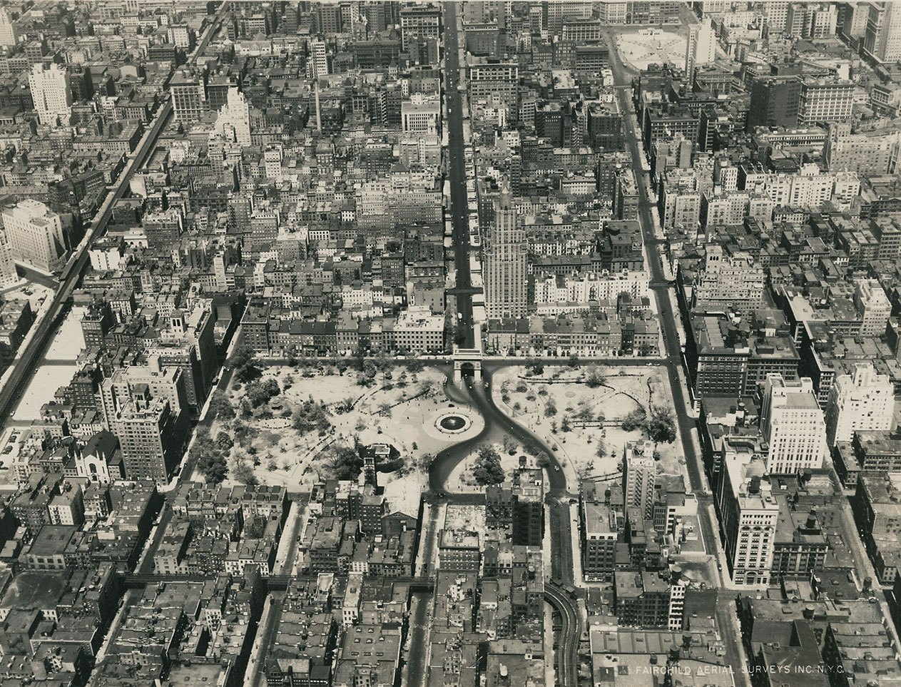 A throwback of an aerial view of Washington Square Park and its surrounding streets.