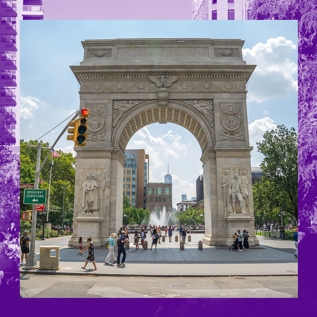 The Washington Square Arch with the fountain in the background
