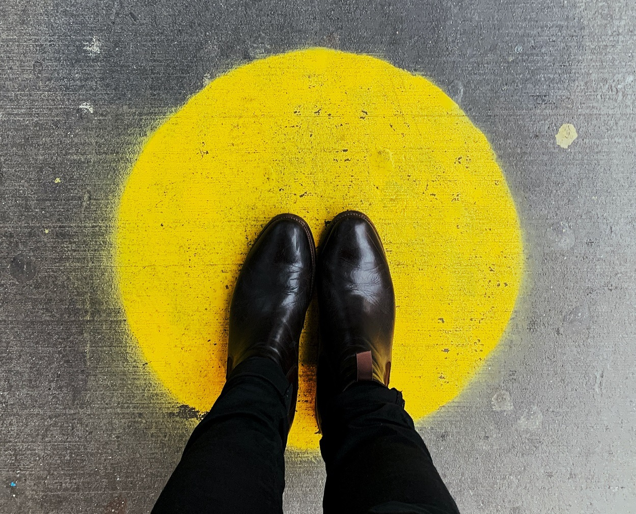 shoes on yellow dot